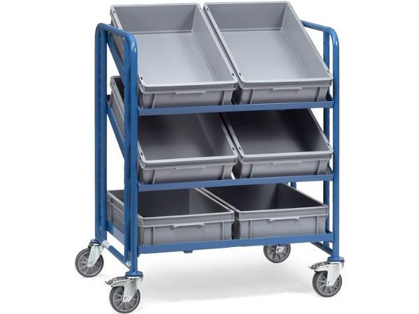 Der robuste Eurokastenwagen kann insgesamt 6 Kisten tragen.