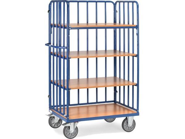Der praktische Etagenwagen besitzt eine zusätzliche Rückwand aus Rohrstreben und kann insgesamt 600 kg Last tragen.