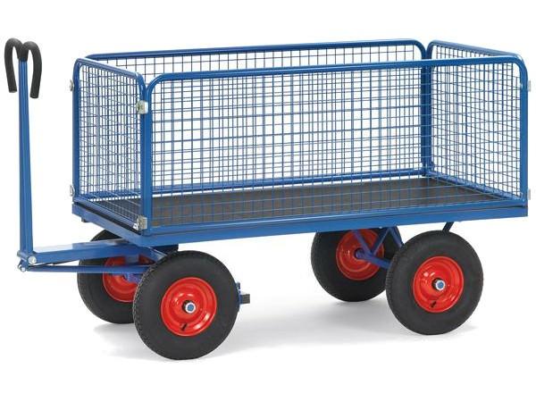 Der robuste Handpritschenwagen kann bis zu 1250 kg an Last tragen.