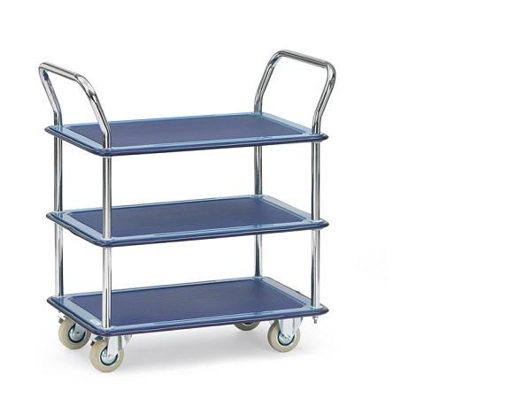 Der praktische Ganzstahlwagen-Tisch ist optimal zum Transport von Lasten bis 120 kg geeignet.