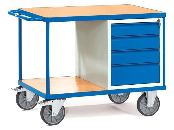 Dieser Werkstattwagen ist eine Kombination aus Aufbewahrungswagen und mobiler Arbeitsoberfläche.