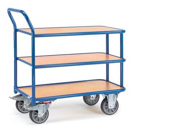Der Tischwagen kann auf 3 Böden Lasten von insgesamt 400 kg problemlos tragen - die TPE-Bereifung sorgt für einen leichten Lauf bei nur wenig Kraftaufwand.
