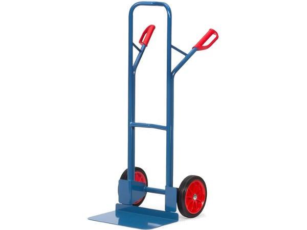 Der stabile Karren mit Vollgummibereifung zeichnet sich durch eine hohe Tragkraft von 300 kg aus.
