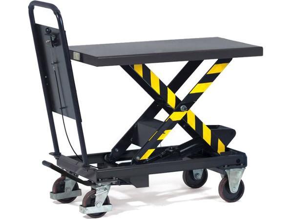Der robuste Hubtischwagen ist mit einer Tragkraft von 500, 750 oder 1.000 kg erhältlich.